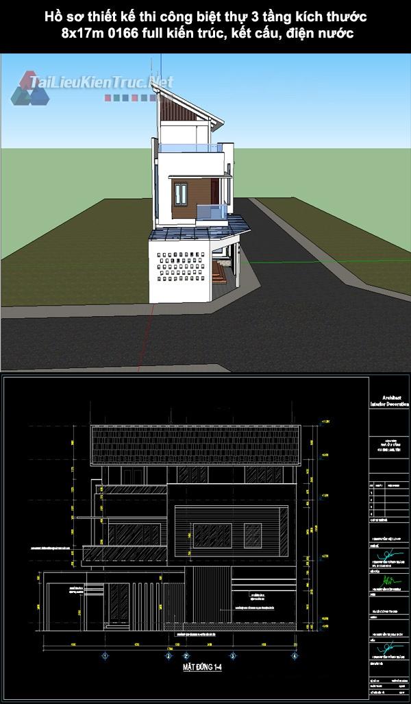 Hồ sơ thiết kế thi công biệt thự 3 tầng kích thước 8x17m 0166 full kiến trúc, kết cấu, điện nước