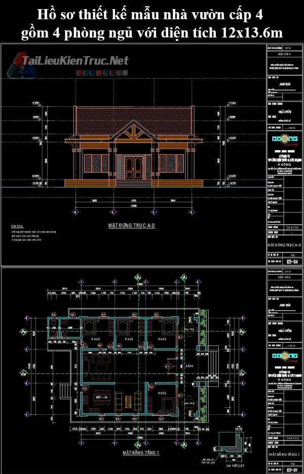 Hố sơ thiết kế mẫu nhà vườn cấp 4 gồm 4 phòng ngủ với diện tích 12×13.6m