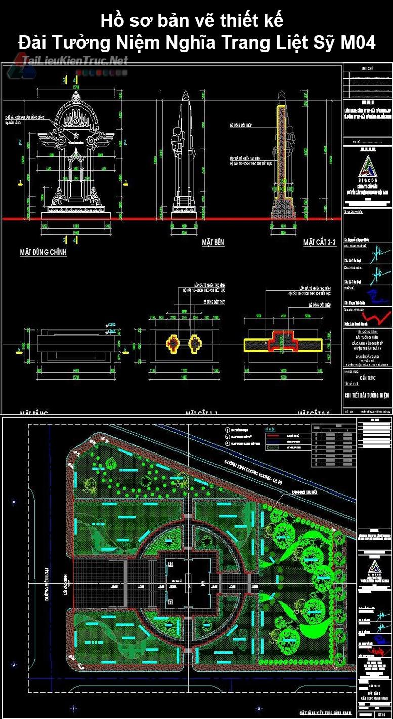 Hồ sơ Bản vẽ thiết kế Đài Tưởng Niệm Nghĩa Trang Liệt Sỹ M04