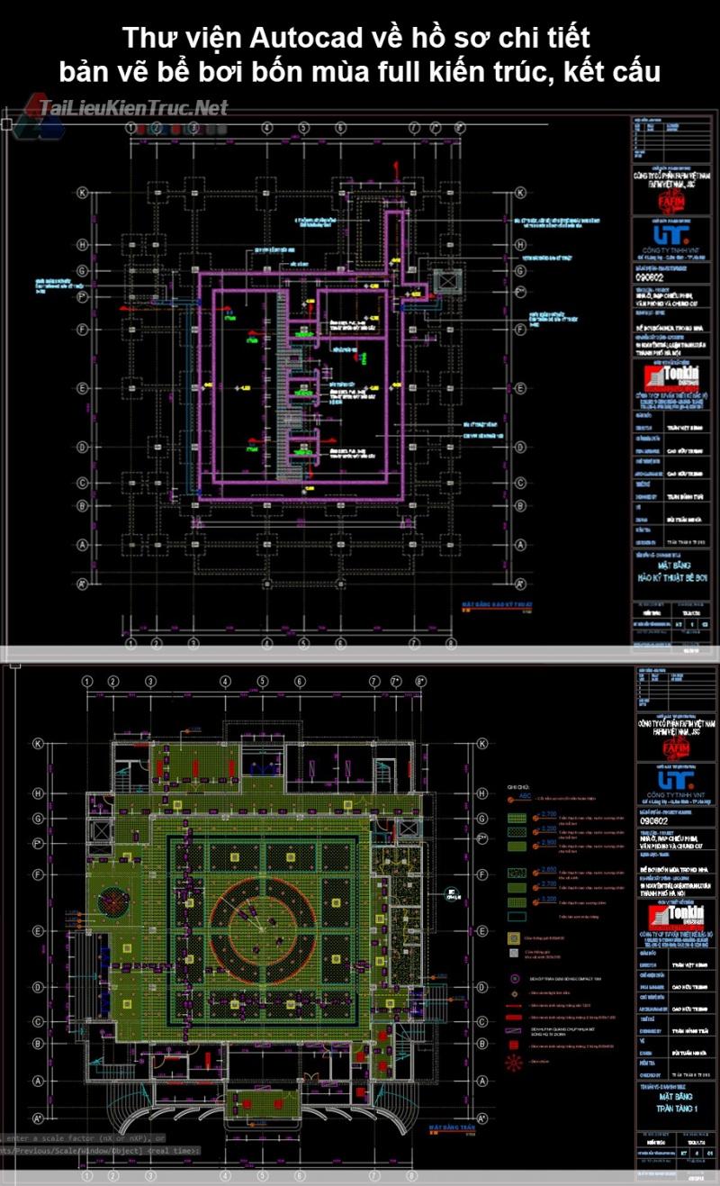 Thư viện Autocad về hồ sơ chi tiết bản vẽ bể bơi bốn mùa full kiến trúc, kết cấu