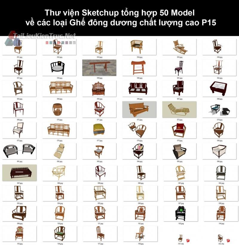 Thư viện Sketchup tổng hợp 50 Model về các loại Ghế đông dương chất lượng cao P15