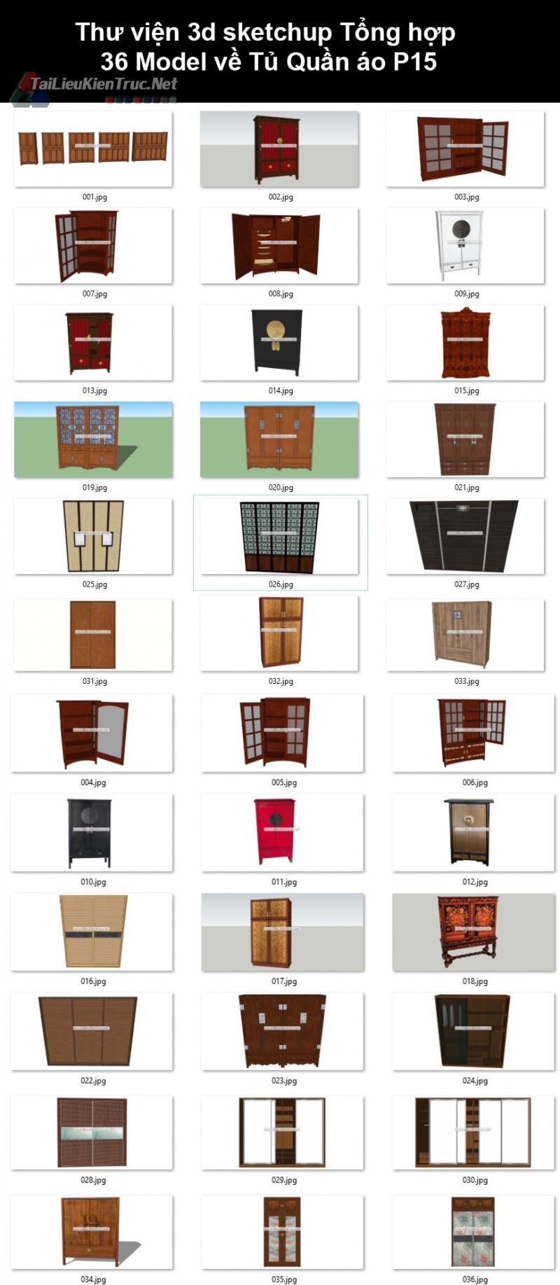 Thư viện 3d sketchup Tổng hợp 36 Model về Tủ Quần áo P15