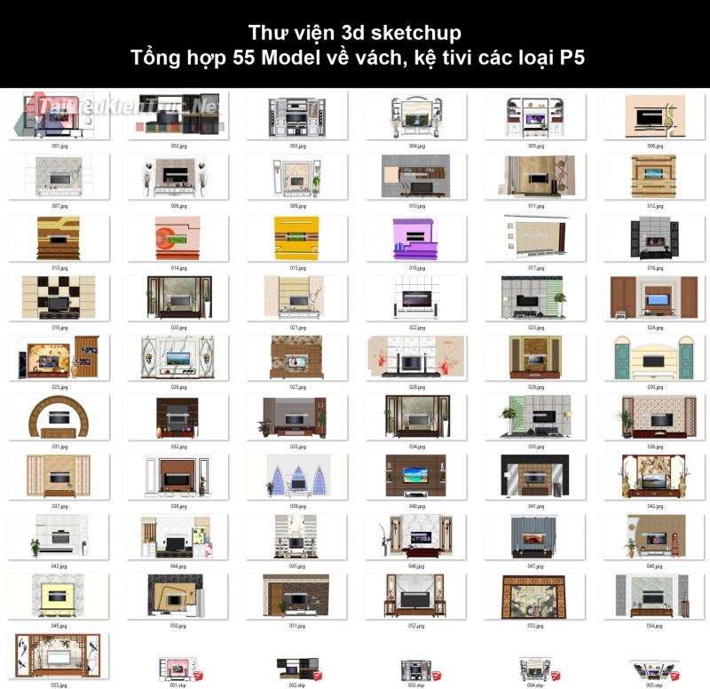 Thư viện 3d sketchup Tổng hợp 55 Model về vách, kệ tivi các loại P5