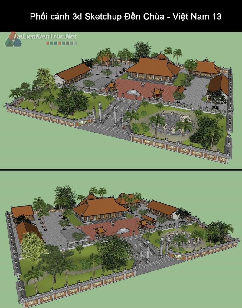 Phối cảnh 3d Sketchup Đền Chùa - Việt Nam 13