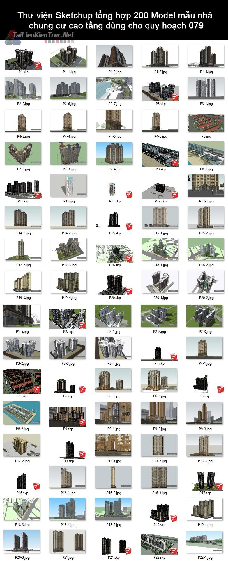 Thư viện Sketchup tổng hợp 200 Model mẫu nhà chung cư cao tầng dùng cho quy hoạch 079