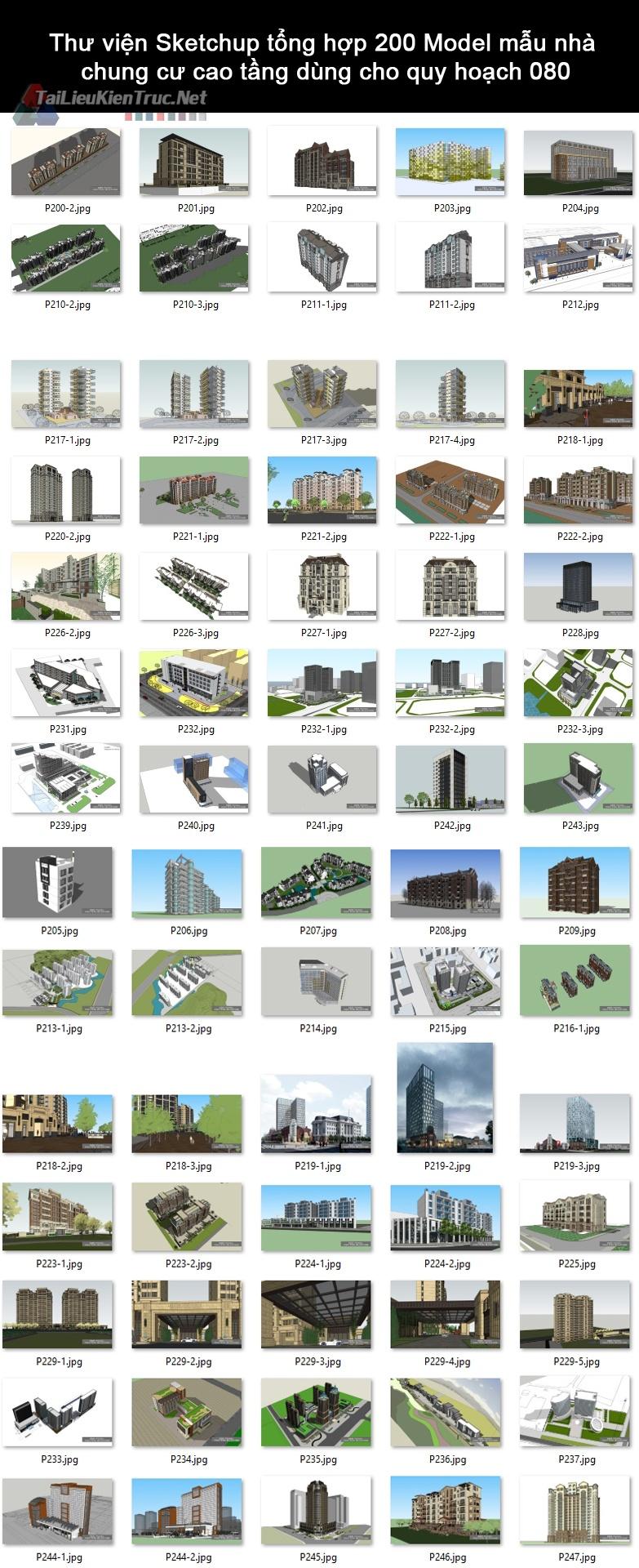 Thư viện Sketchup tổng hợp 200 Model mẫu nhà chung cư cao tầng dùng cho quy hoạch 080