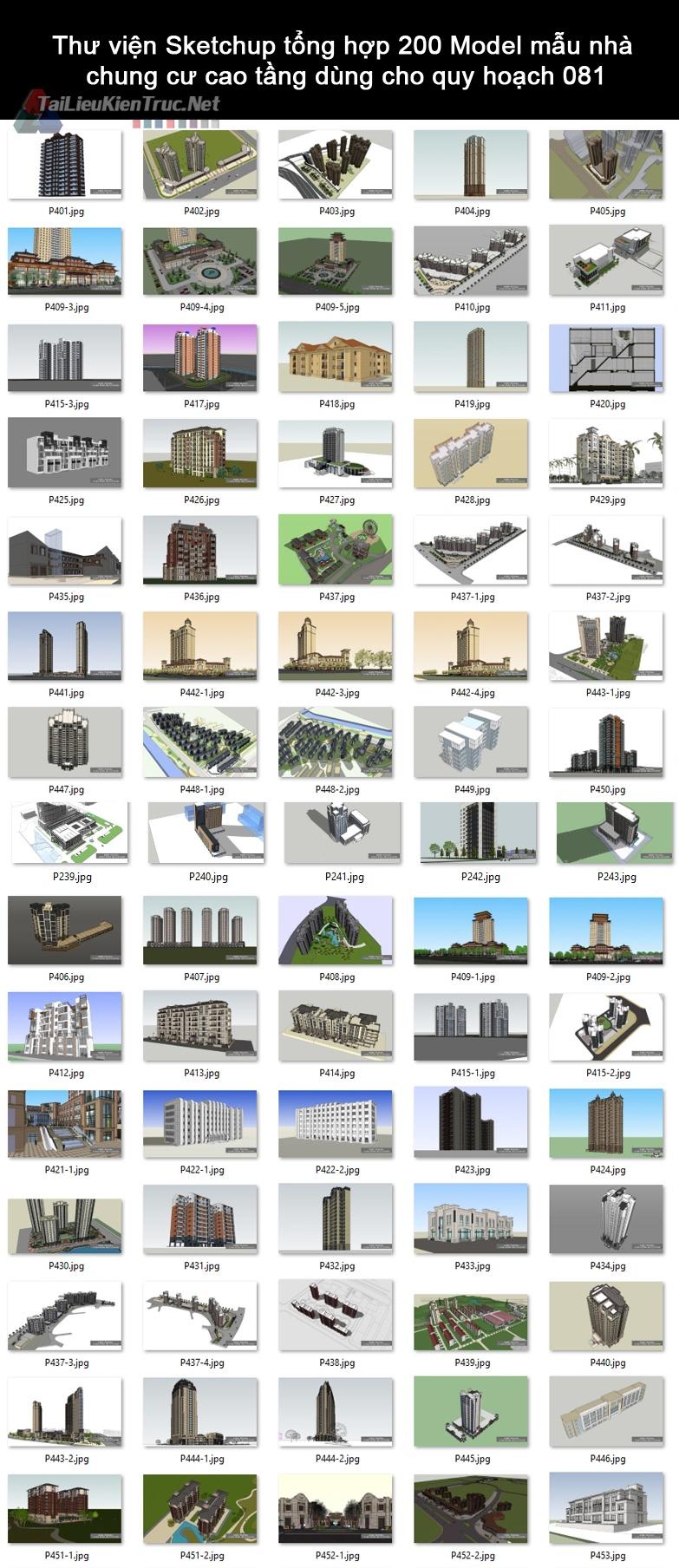 Thư viện Sketchup tổng hợp 200 Model mẫu nhà chung cư cao tầng dùng cho quy hoạch 081