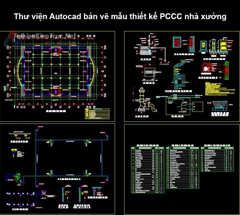 Thư viện autocad Bản vẽ mẫu thiết kế PCCC nhà xưởng