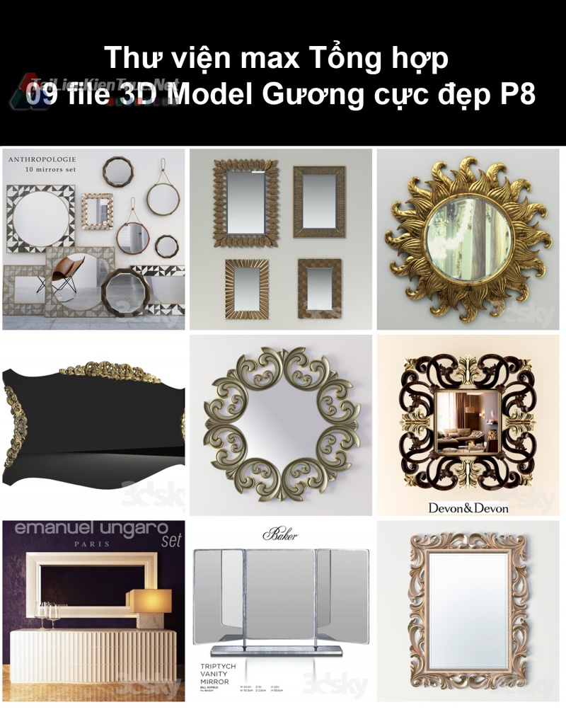 Thư viện max Tổng hợp 09 File 3D model Gương cực đẹp P8