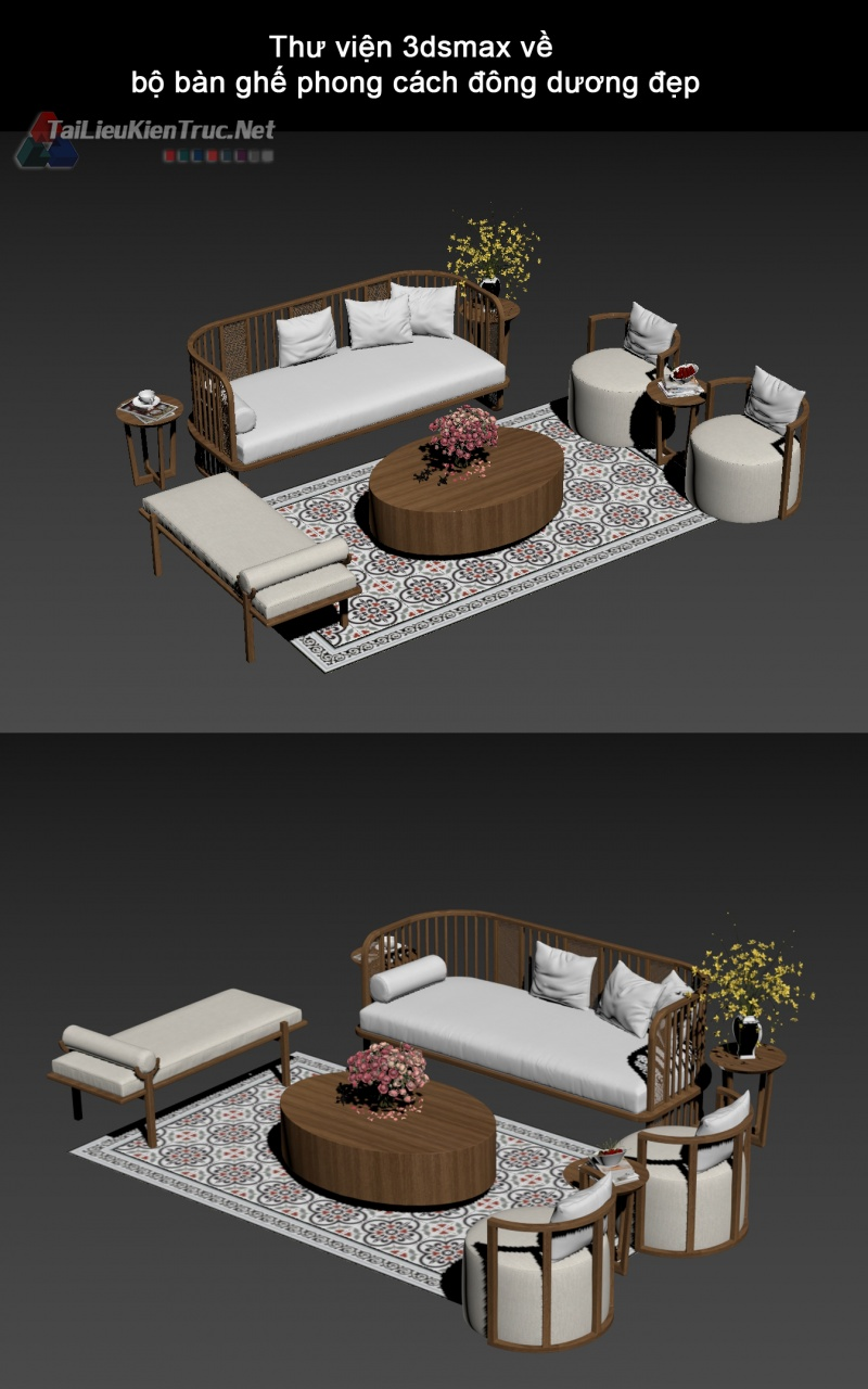 Thư viện 3dsmax về bộ bàn ghế phong cách đông dương đẹp