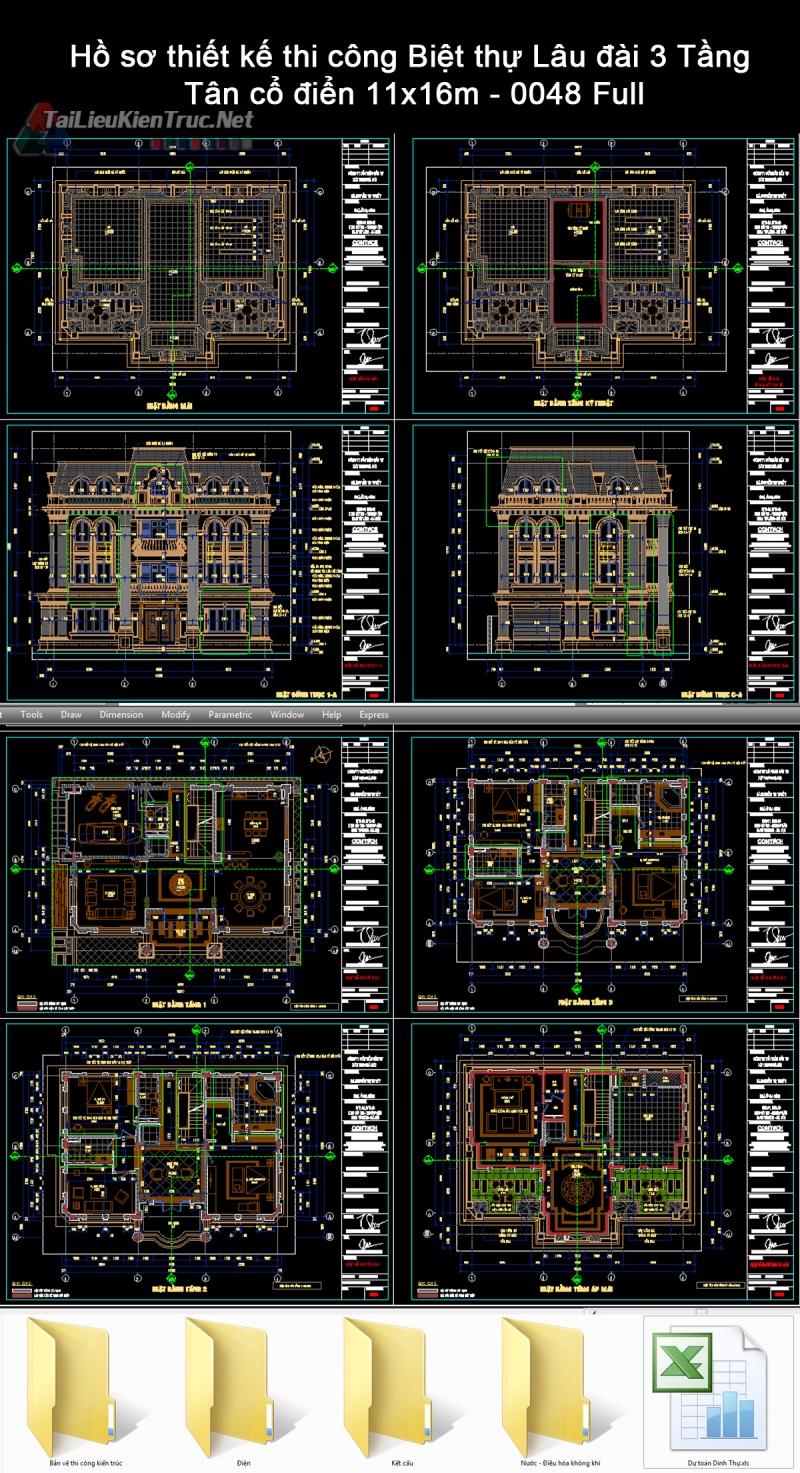 Hồ sơ thiết kế thi công Biệt thự Lâu đài 3 Tầng Tân cổ điển 11x16m - 0048 Full