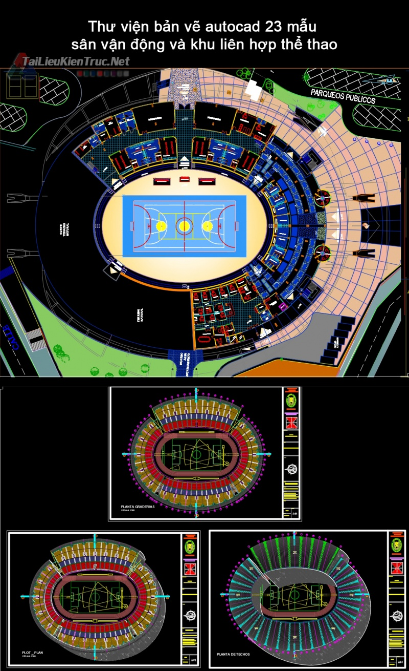 Thư viện bản vẽ autocad 23 mẫu sân vận động và khu liên hợp thể thao