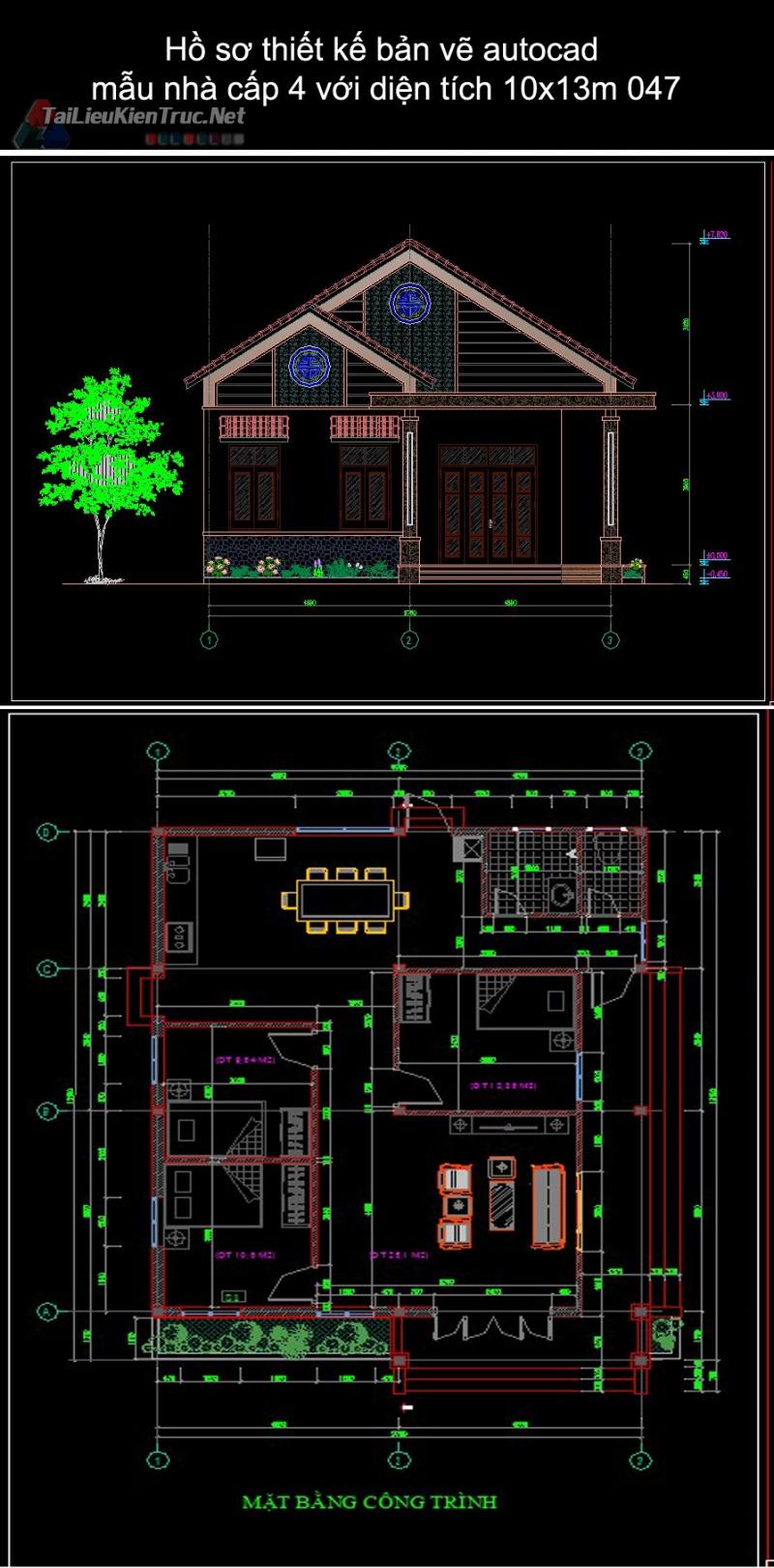 Hồ sơ thiết kế bản vẽ autocad mẫu nhà cấp 4 với diện tích 10x13m 047