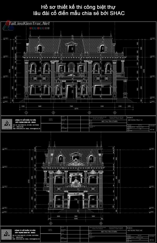 Hồ sơ thiết kế thi công biệt thự lâu đài cổ điển mẫu chia sẻ bởi SHAC