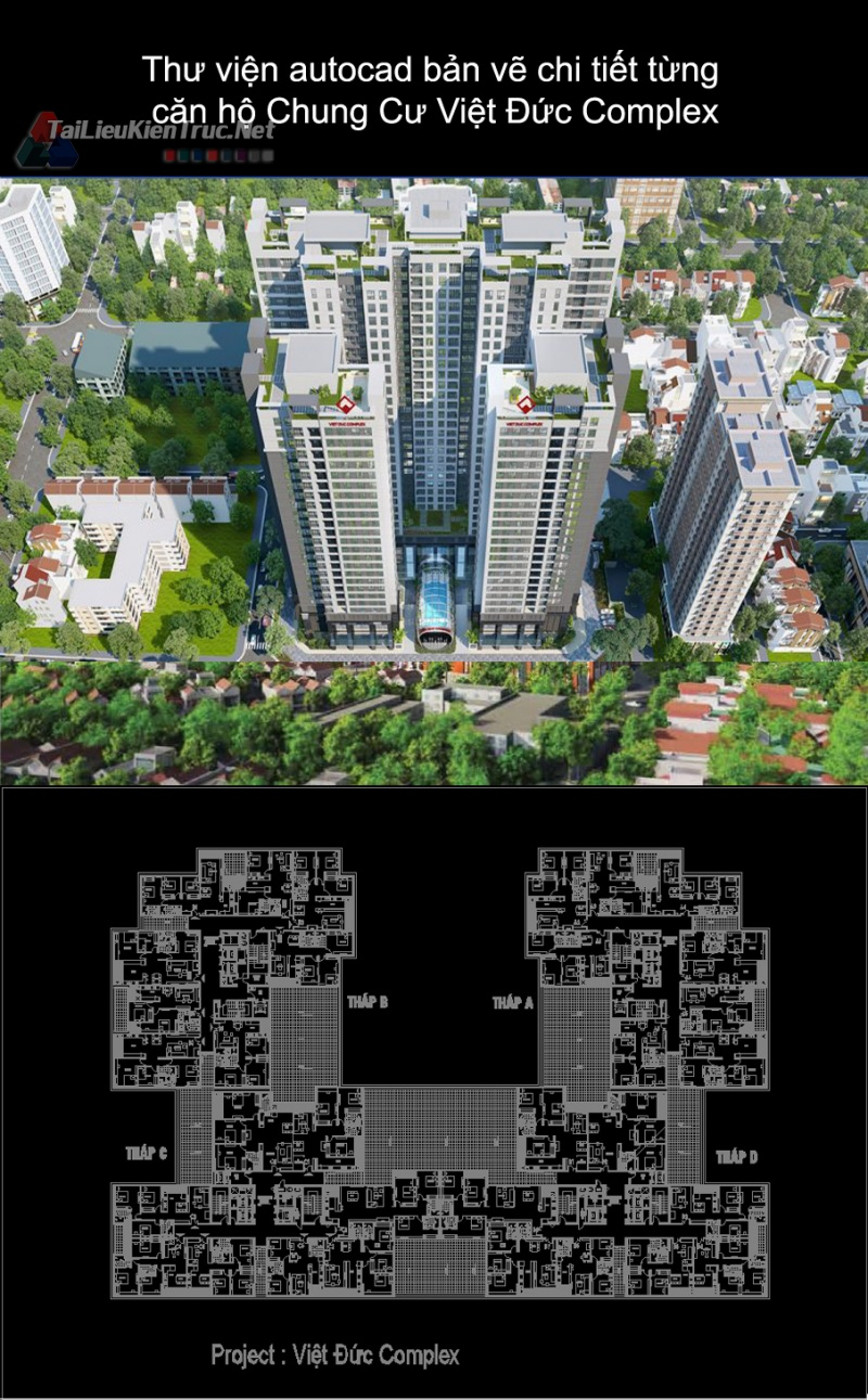 Thư viện autocad bản vẽ chi tiết từng căn hộ Chung Cư Việt Đức Complex