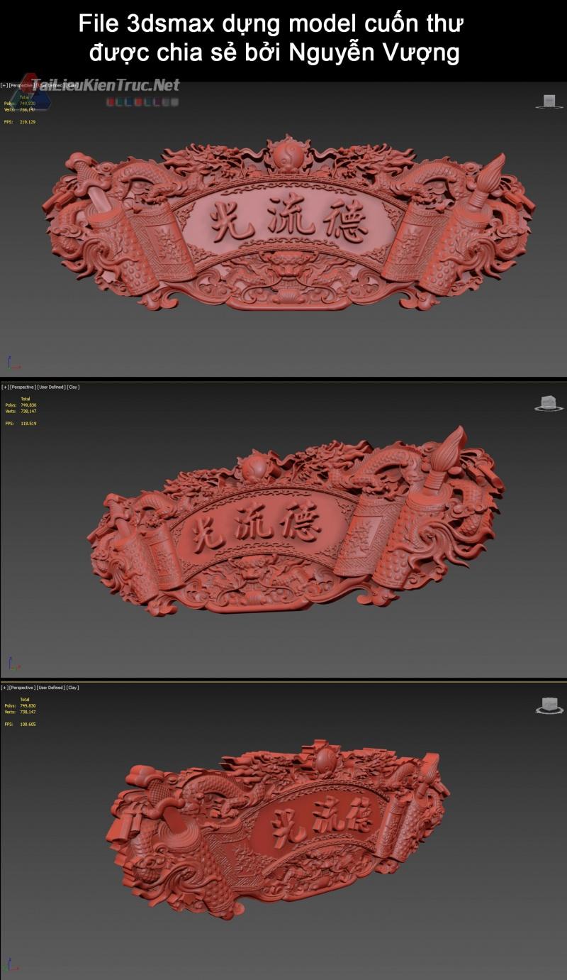 File 3dsmax dựng model cuốn thư được chia sẻ bởi Nguyễn Vượng