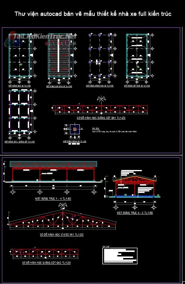 Thư viện autocad bản vẽ mẫu thiết kế nhà xe full kiến trúc