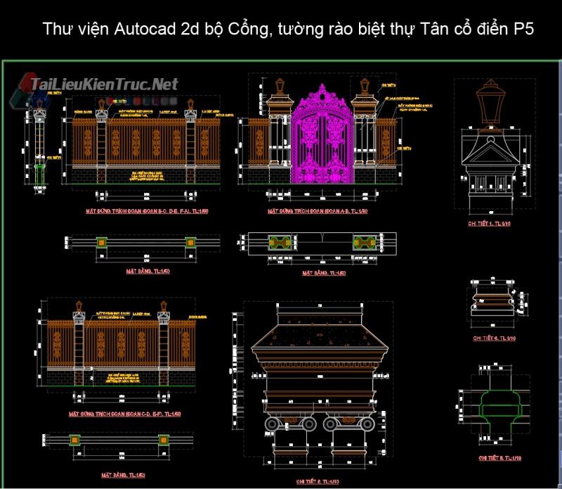 Thư viện Autocad 2d bộ Cổng, tường rào biệt thự Tân cổ điển P5