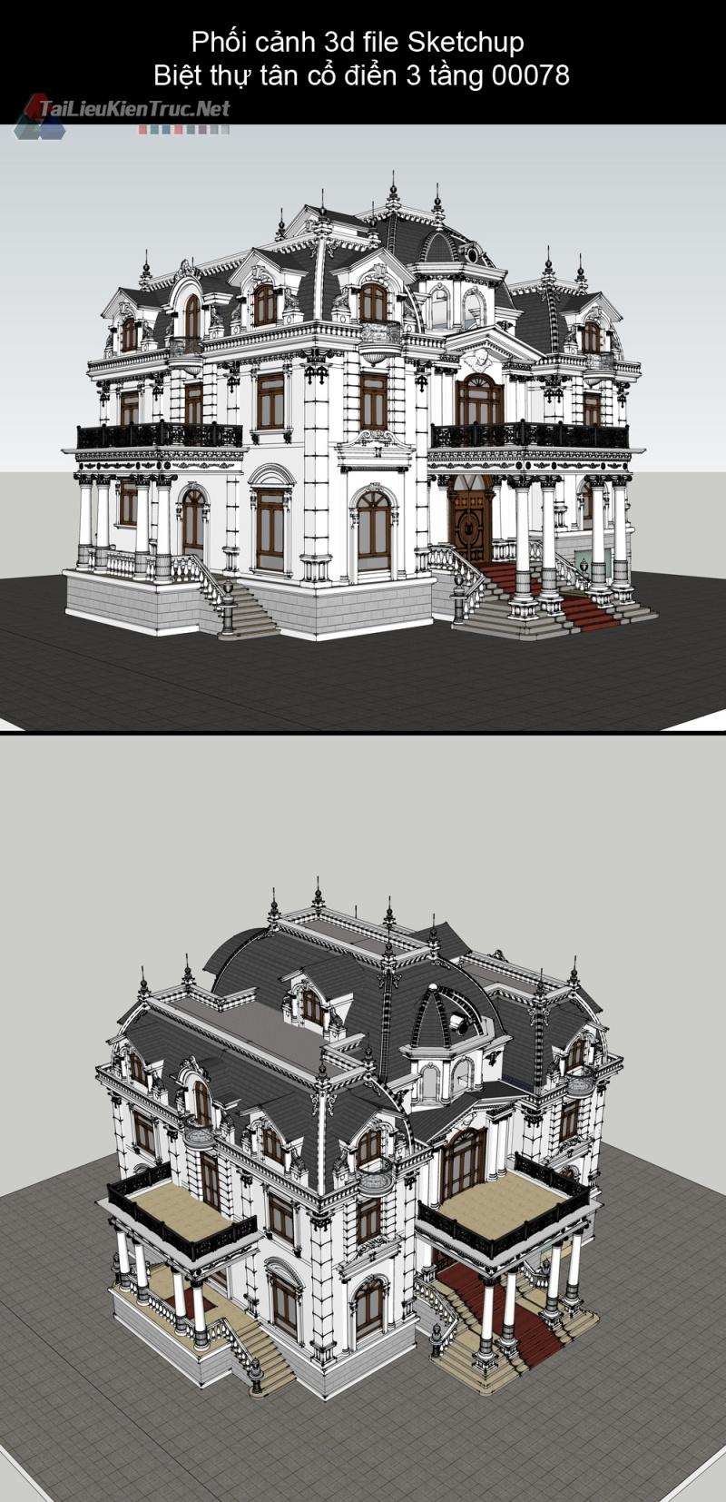 Phối cảnh 3d file Sketchup Biệt thự hiện đại 3 tầng tân cổ điển 00078
