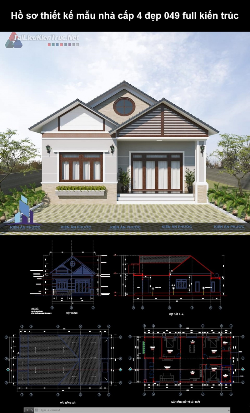 Hồ sơ thiết kế mẫu nhà cấp 4 đẹp 049 full kiến trúc