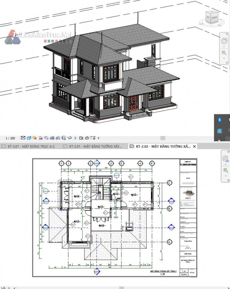 Hồ sơ thiết kế bản vẽ Revit công trình biệt thự vườn 2 tầng full kiến trúc