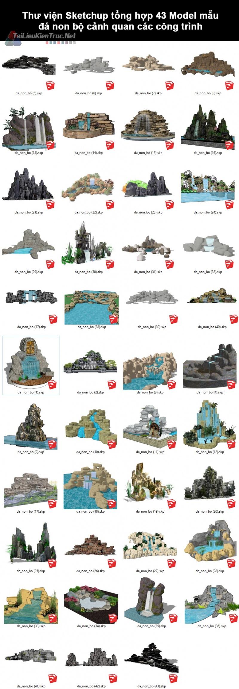 Thư viện Sketchup tổng hợp 43 Model mẫu đá non bộ cảnh quan các công trình