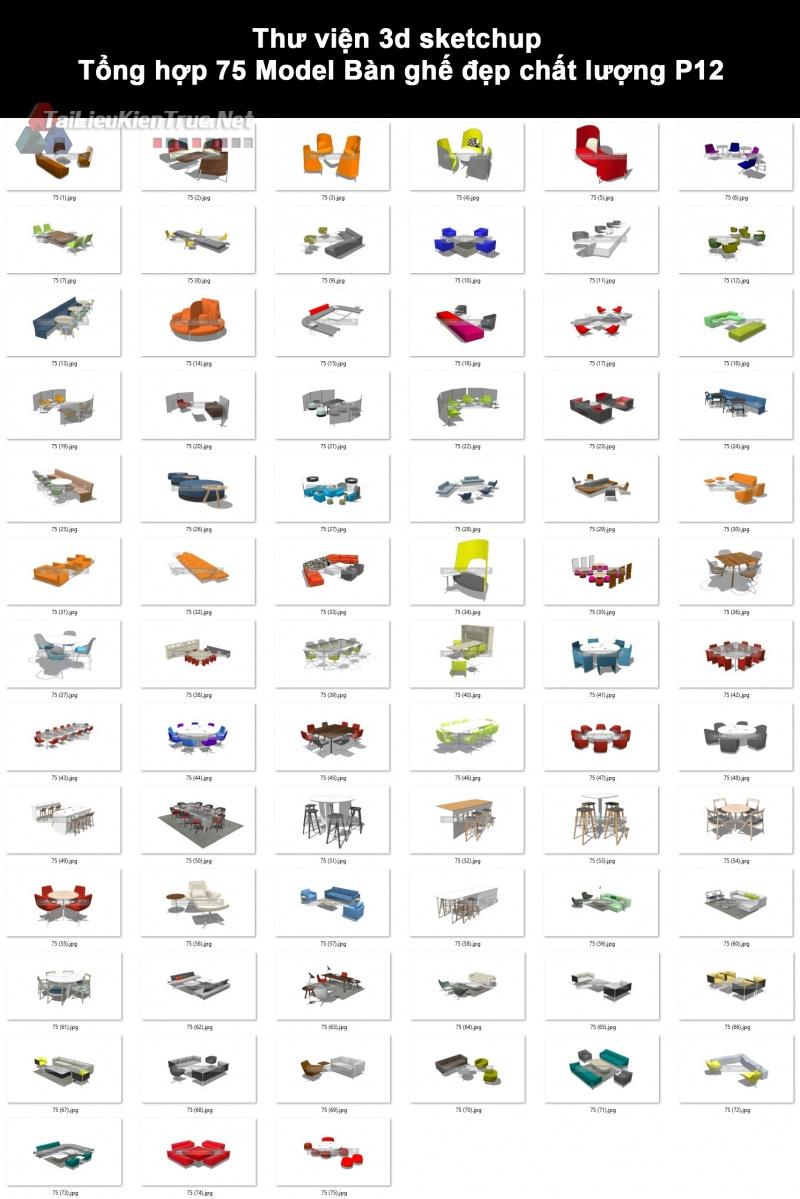 Thư viện 3d sketchup Tổng hợp 75 Model Bàn ghế đẹp chất lượng P12