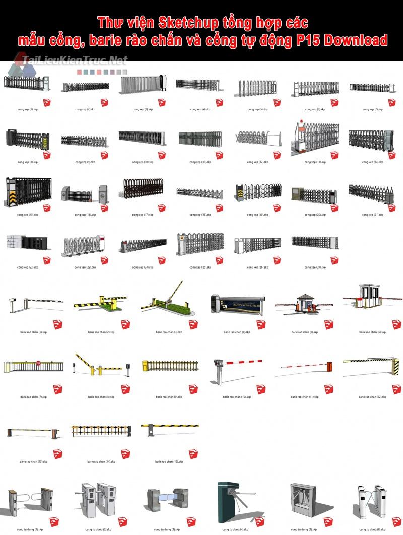 Thư viện Sketchup tổng hợp các mẫu cổng, barie rào chắn và cổng tự động P15 Download