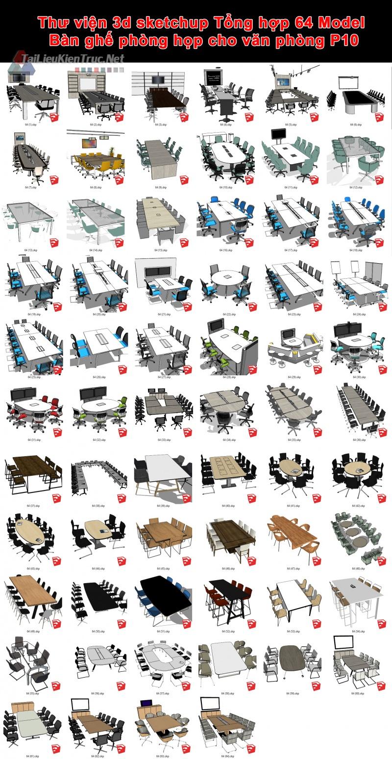 Thư viện 3d sketchup Tổng hợp 64 Model Bàn ghế phòng họp cho văn phòng P10