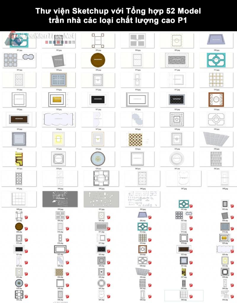 Thư viện Sketchup với Tổng hợp 52 Model trần nhà các loại chất lượng cao P1