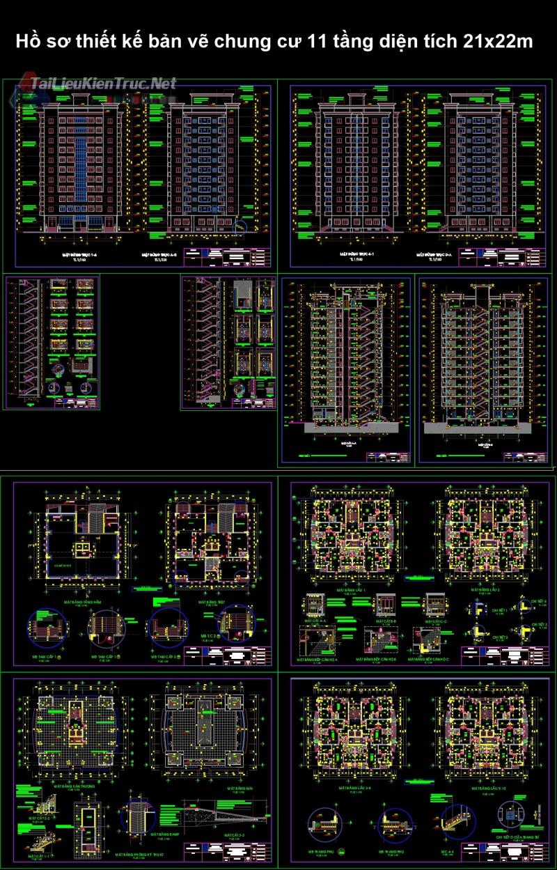 Hồ sơ thiết kế bản vẽ chung cư 11 tầng diện tích 21x22m