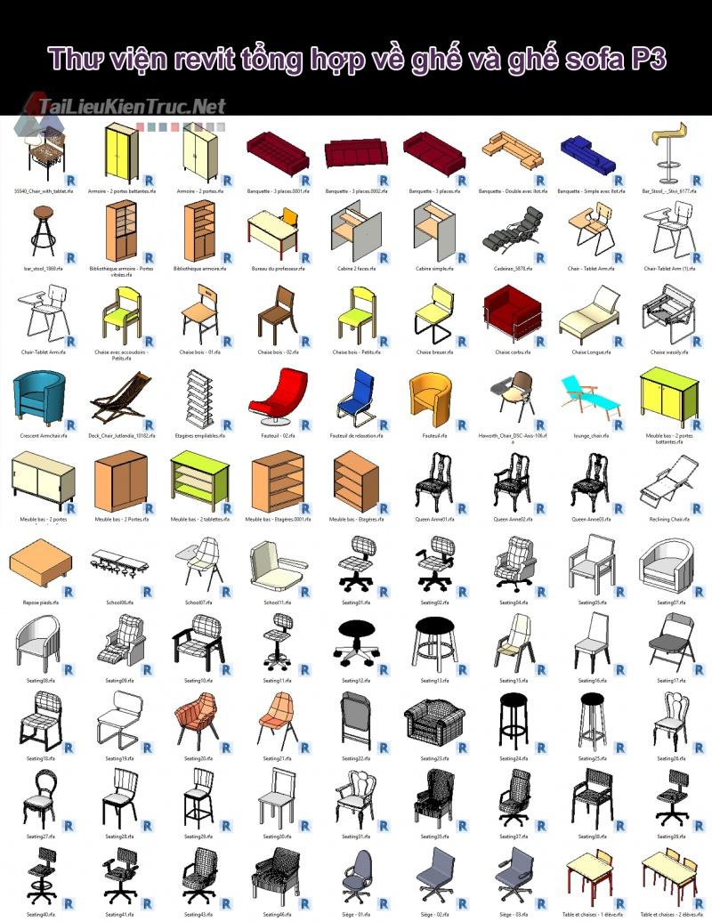 Thư viện revit tổng hợp về ghế và ghế sofa P3
