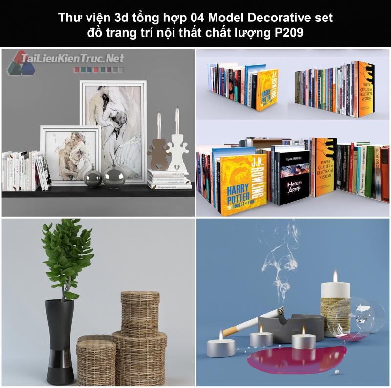 Thư viện 3d tổng hợp 04 Model Decorative set đồ trang trí nội thất chất lượng P209