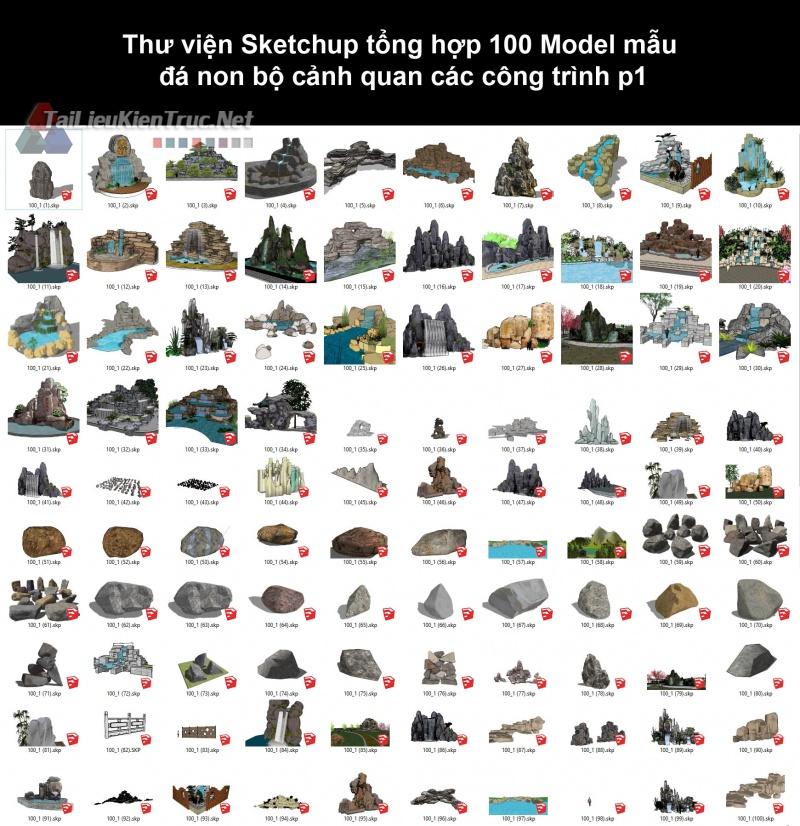 Thư viện Sketchup tổng hợp 100 Model mẫu đá non bộ cảnh quan các công trình p1