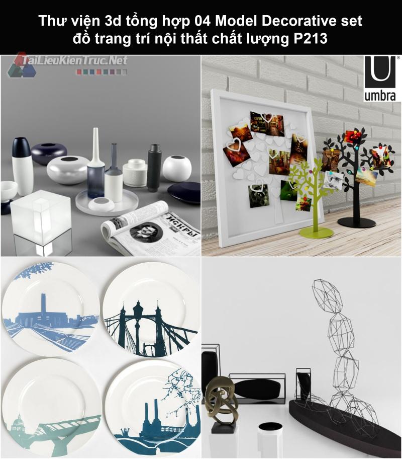 Thư viện 3d tổng hợp 04 Model Decorative set đồ trang trí nội thất chất lượng P213