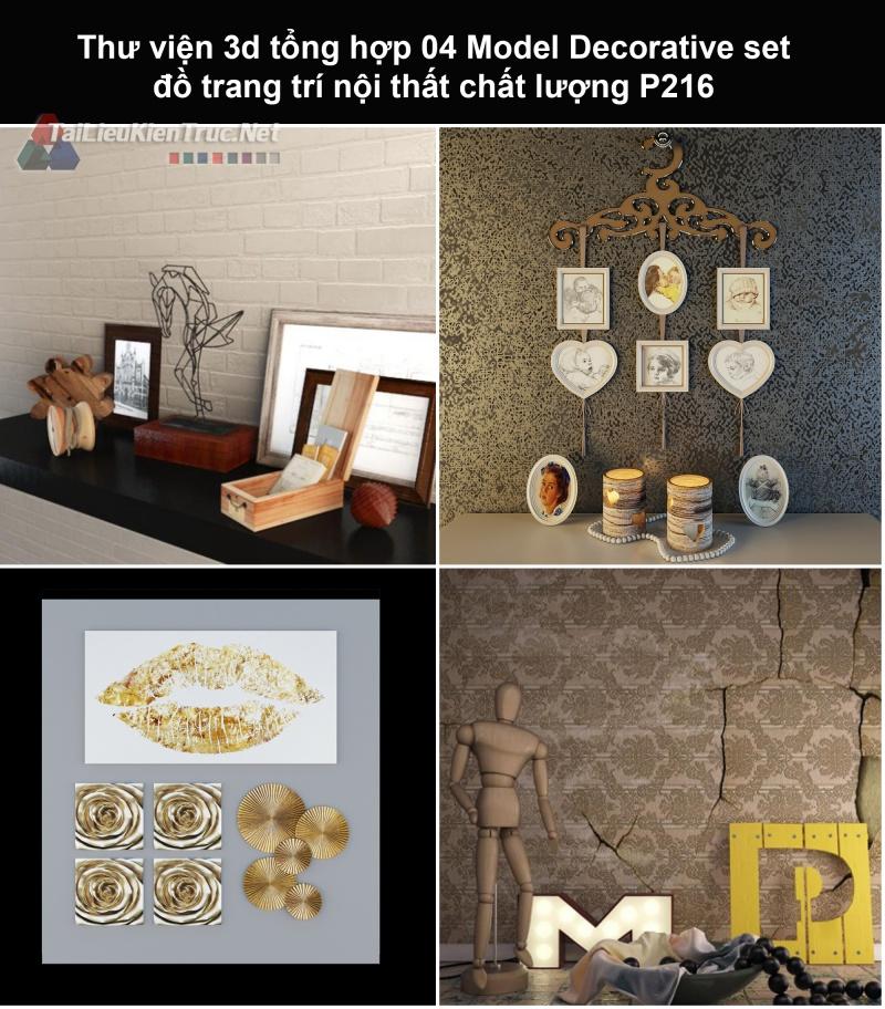 Thư viện 3d tổng hợp 04 Model Decorative set đồ trang trí nội thất chất lượng P216