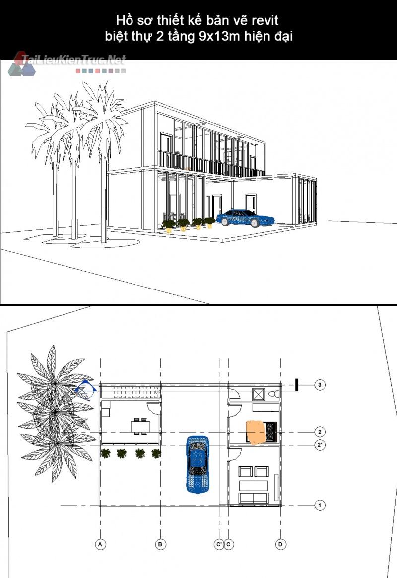 Hồ sơ thiết kế bản vẽ revit biệt thự 2 tầng 9x13m hiện đại