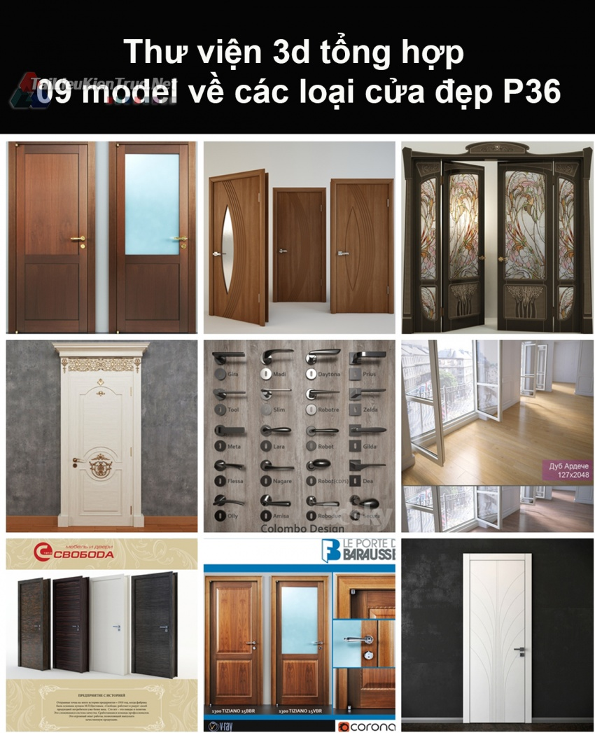 Thư viện 3d tổng hợp 09 model về các loại cửa đẹp P36