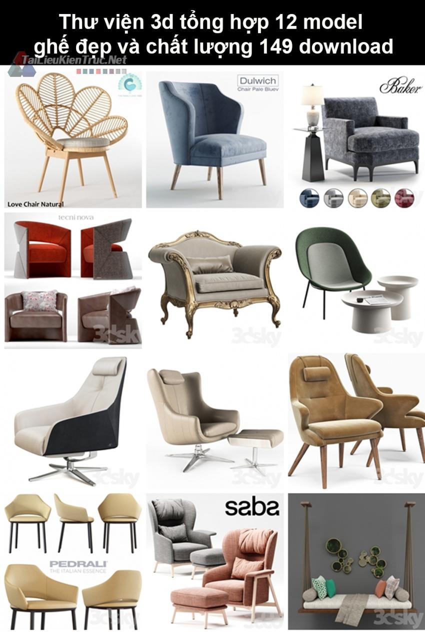 Thư viện 3d Tổng hợp 12 model ghế đẹp và chất lượng 149 download