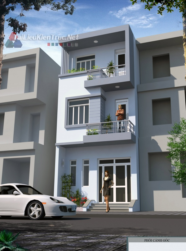 Hồ sơ thiết kế bản vẽ sơ bộ nhà phố 3 tầng diện tích 5x15m 165