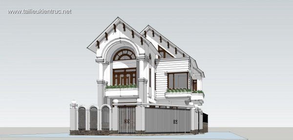 Sence Villa 00011 - Phối cảnh Biệt thự 3 tầng File Sketchup cực đẹp