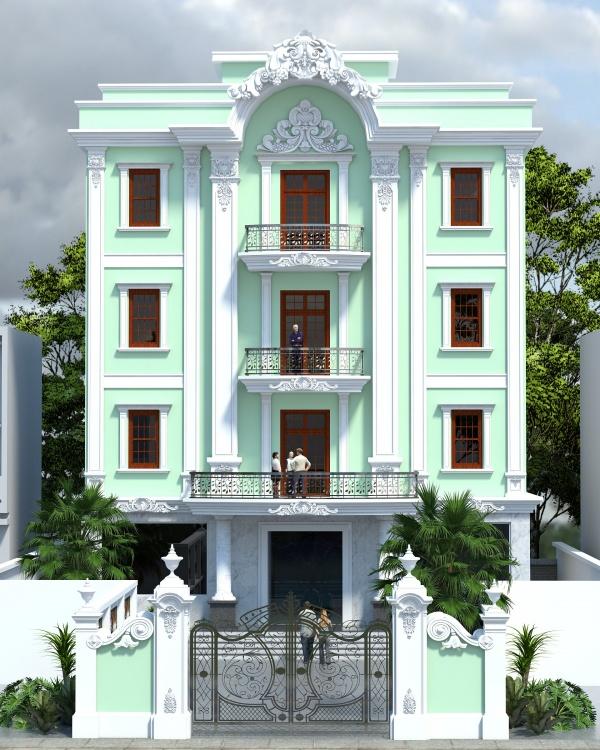 Phối cảnh 3d file Sketchup nhà phố 4 tầng Tân cổ điển 042 download
