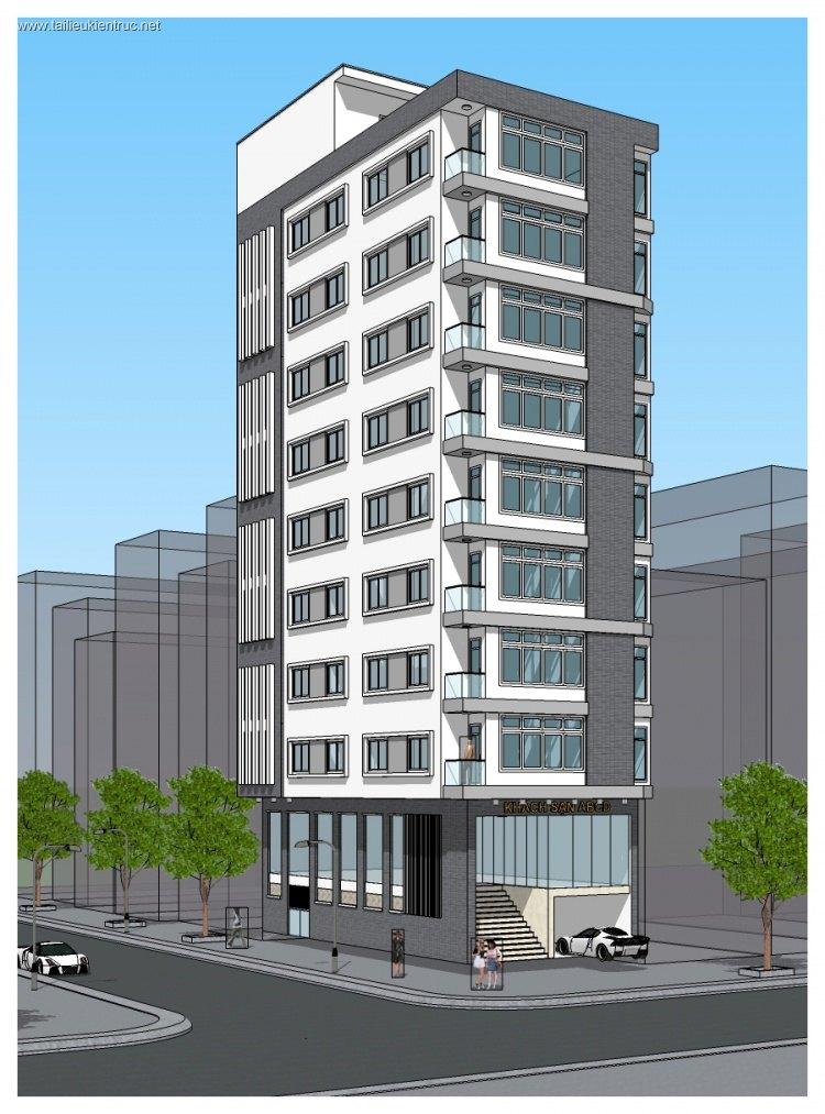Hồ sơ thiết kế khách sạn 10 tầng mẫu 004 full kiến trúc