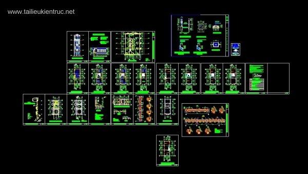 Hồ sơ thiết kế nhà phố 4 tầng diện tích 4x10m 044