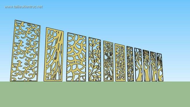 Thư viện 3d Sketchup về Hoa văn vách ngăn CNC MS003