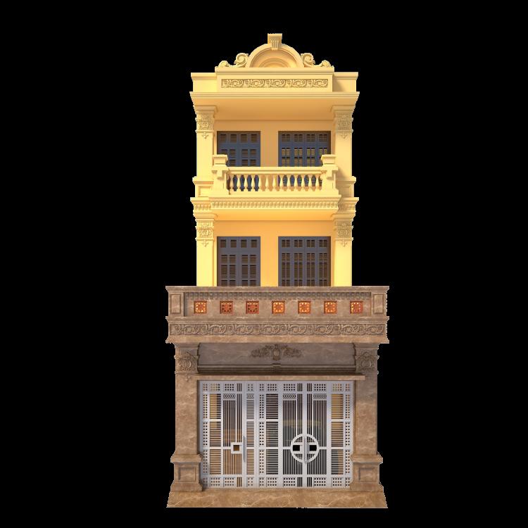Thư viện 3dsMax Phối cảnh công trình Nhà phố 3 tầng phong cách Tân cổ điển pháp cổ 032