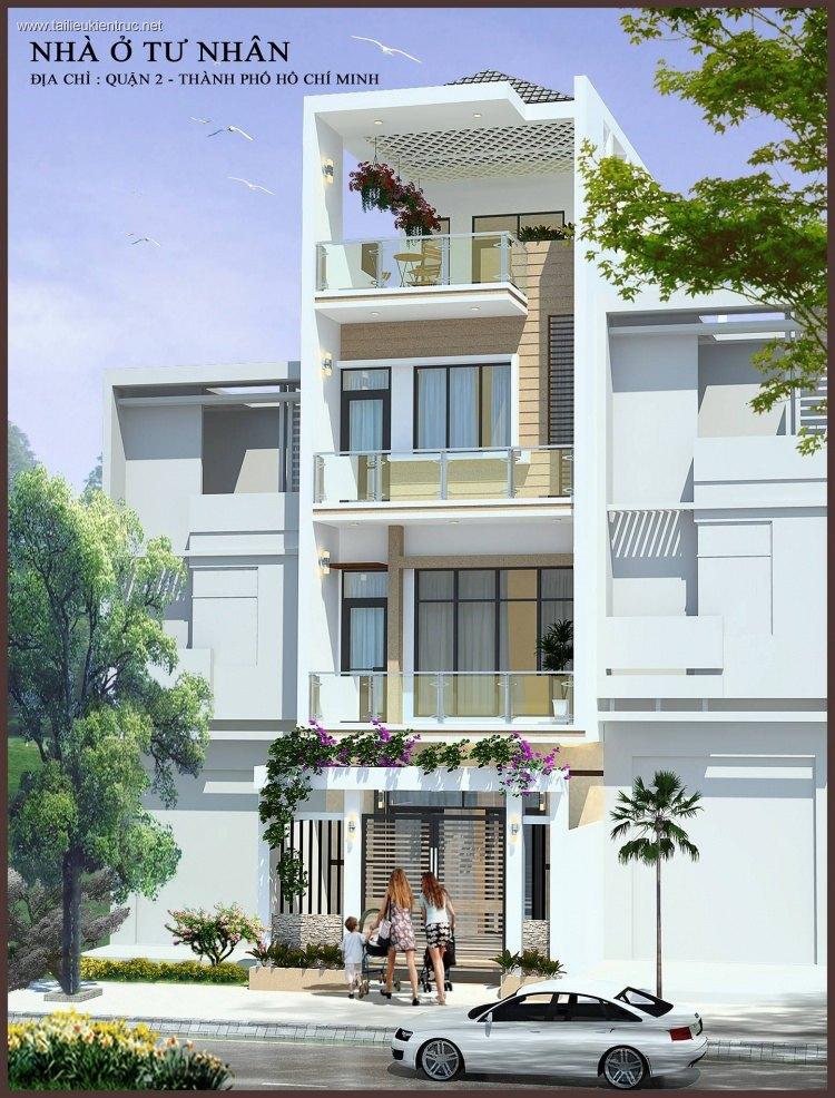 Hồ sơ thiết kế nhà phố 4 tầng diện tích 5x18m 100 Full kiến trúc