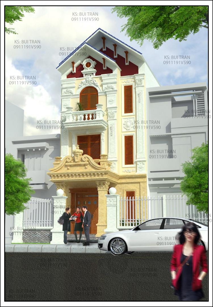 Thư viện 3d Sketchup Phối cảnh công trình Nhà phố 3 tầng phong cách Tân cổ điển pháp cổ 033