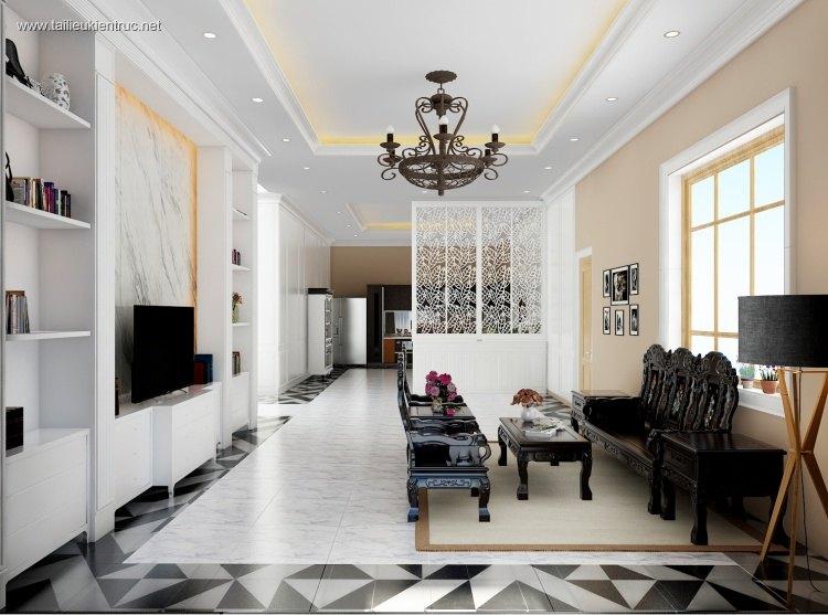 Phối cảnh nội thất 3D phòng khách cổ điển Á Đông 00039