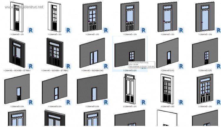 Thư viện Revit tổng hợp các loại cửa đi Window